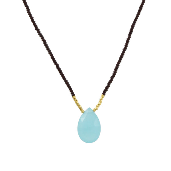 Debbie Fisher - Aqua Chalcedony Drop Necklace With Bordeaux Seed Beads