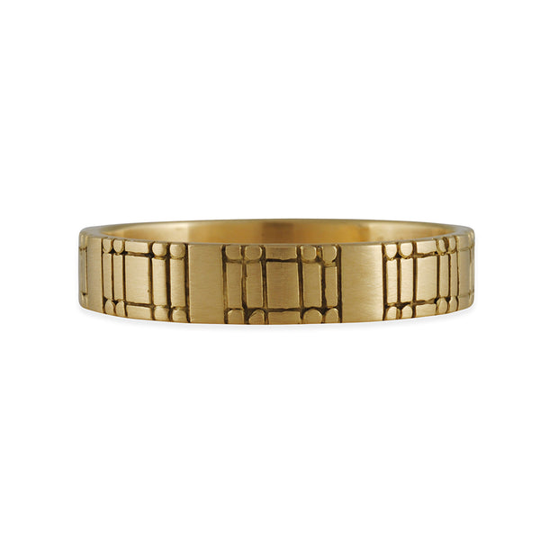 Marian Maurer - 4.5mm Flat Code Band in 18K Gold