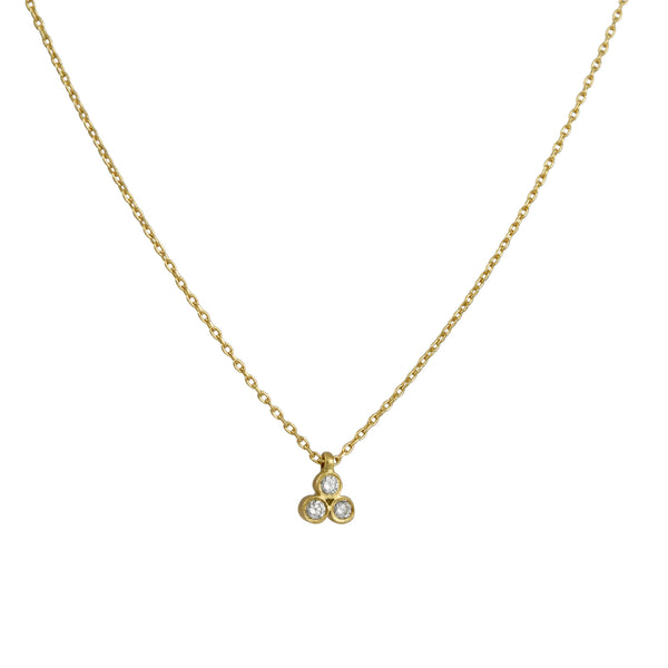 Marian Maurer - Teeny Triple Diamond Pendant Necklace in 18K Gold