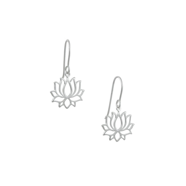 Tashi - Tiny Lotus Drop Earrings in Sterling Silver