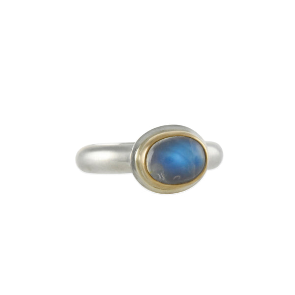 Halcyon - Moonbeam Ring With Blue Moonstone Cabochon