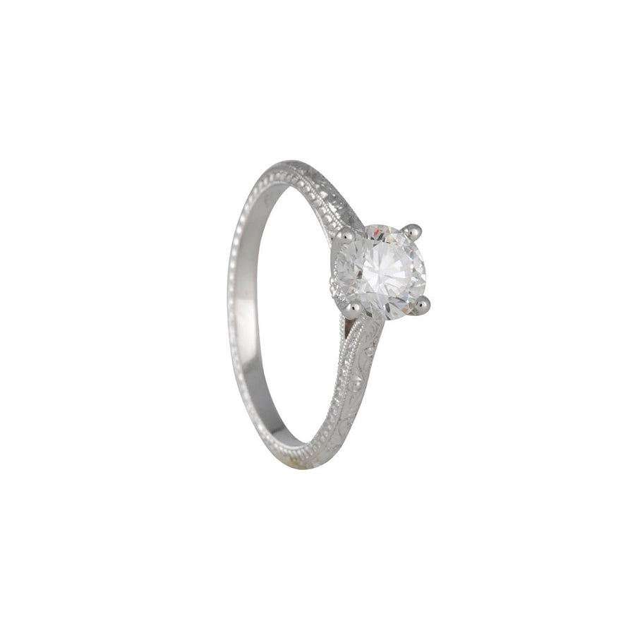 Varna - Narrow Hand Engraved Diamond Solitaire in 18K White Gold