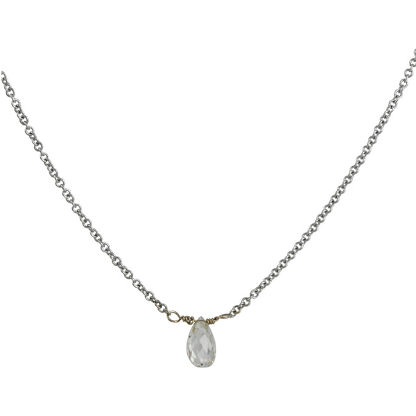 Clay Pot Classics - Briolette Diamond Drop Necklace in White Gold