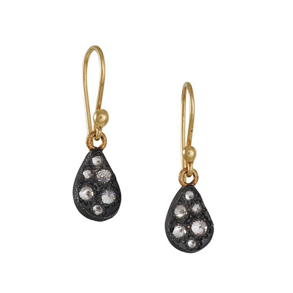 TAP by Todd Pownell - Oxidized Pear Drop Earrings with Diamonds