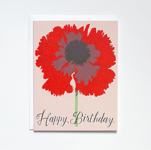 Banquet Workshop- Neon Red Poppy Happy Birthday Card
