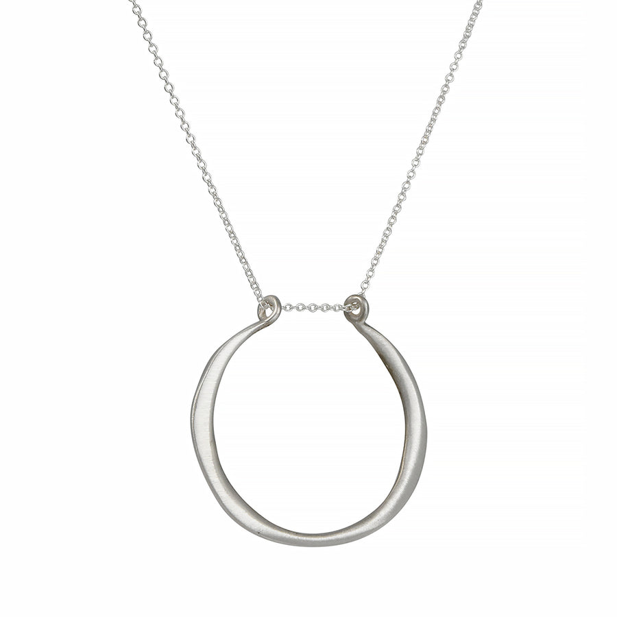 Philippa Roberts - Open Circle Pendant Necklace in Brushed Sterling Silver
