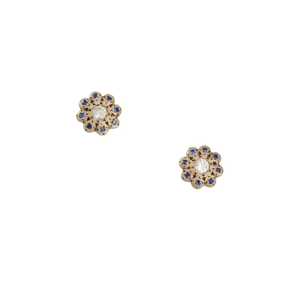 Adel Chefridi - Moonflower with Sapphire and Diamond Studs