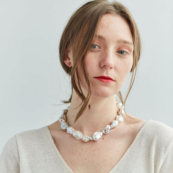 Hannah Blount - Opalescent Baroque Pearl Ruthie B Necklace