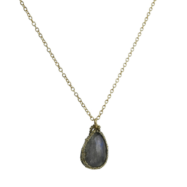 Danielle Welmond -  Hand-Crocheted Cage Pendant Necklace With Pear-Shaped Labradorite