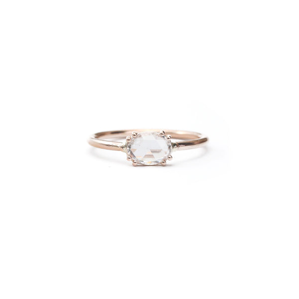 Tura Sugden - Eight-Prong Oval Rose Cut Diamond Solitaire in 18K Rose Gold