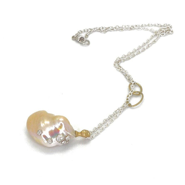 Hannah Blount - Peach Pearl Nymph Cameo Necklace