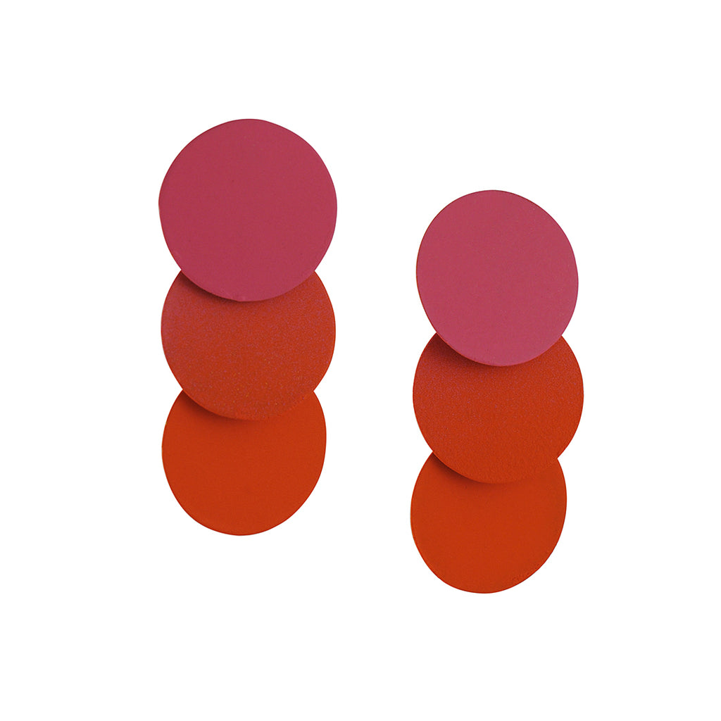 Sibilia - Three Circle Coral Ombre Earrings