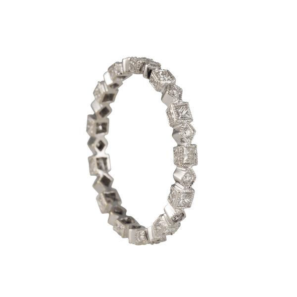 SALE - Geometric Shapes Diamond Eternity Band in 18K White Gold