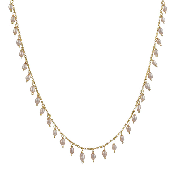 Christina Stankard - Fringe Necklace With Pink Freshwater Pearls