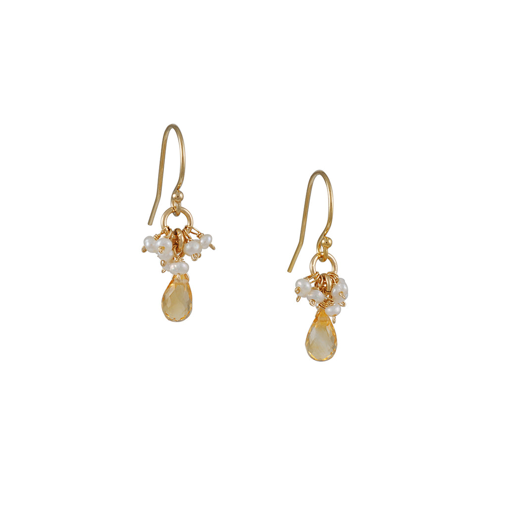 Christina Stankard - Pearl and Citrine Cluster Earrings