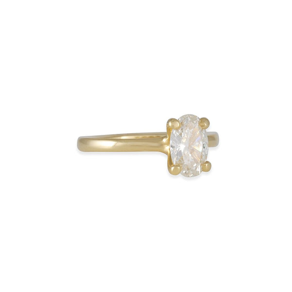 Sholdt Design - Petite Prong Solitaire with Oval Diamond in 18K Yellow Gold