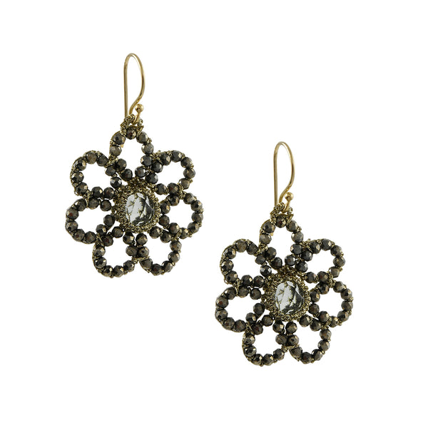 Danielle Welmond - Floral Caged Green Amethyst Drop Earrings With Pyrite Beading