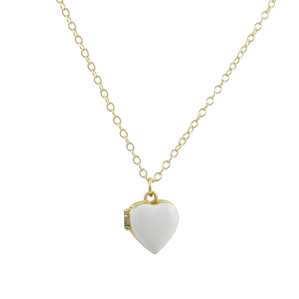 Kris Nations - White Enameled Heart Locket