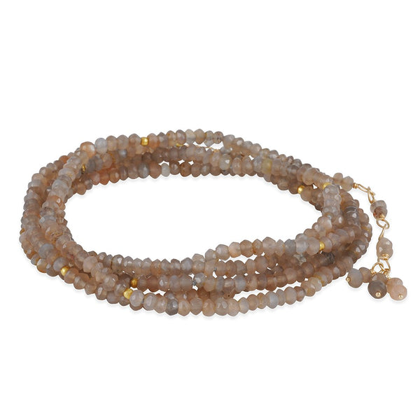 CP Collection - Chocolate Moonstone Wrap Bracelet and Necklace