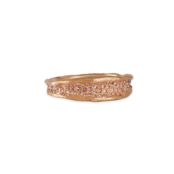 TAP by Todd Pownell - Irregular Concave Band With Pink Diamond Pave