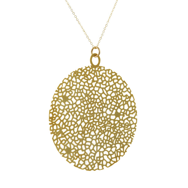 Daphne Olive - Large Circle Textured Pendant Necklace