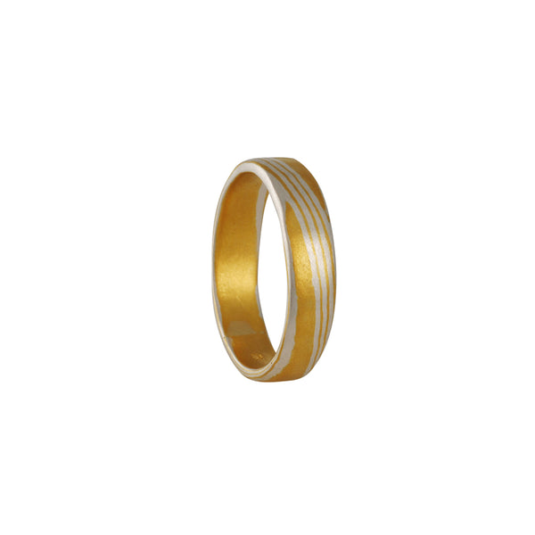 Black Barc - 5mm Mokume Gane Band With 24K Gold and Fine Silver