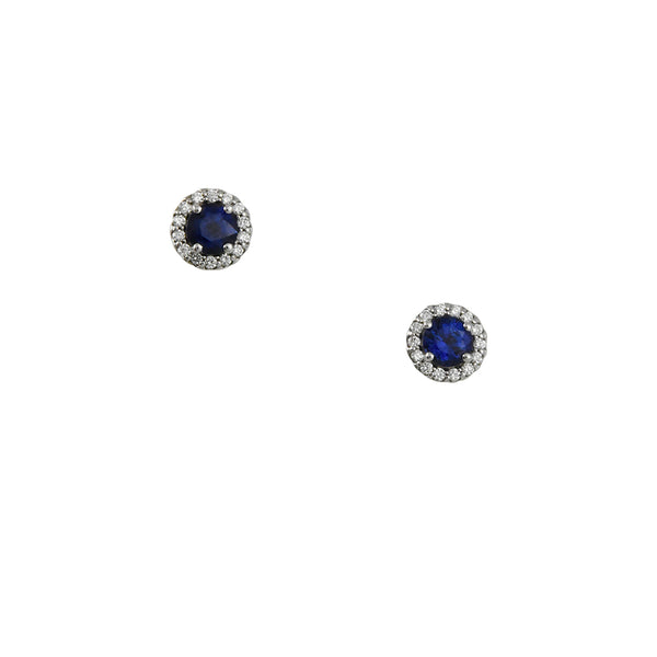 Cp Collection - Blue Sapphire Diamond Halo Studs