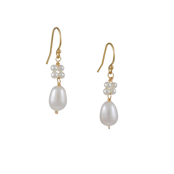 Christina Stankard - White Pearl Flower Earrings