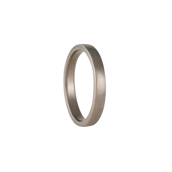 Balck Barc - 3mm Squared Wedding Band in 14K White Gold