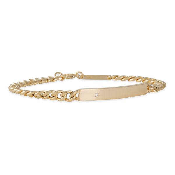 Zoë Chicco - Hollow Curb Diamond ID Bracelet
