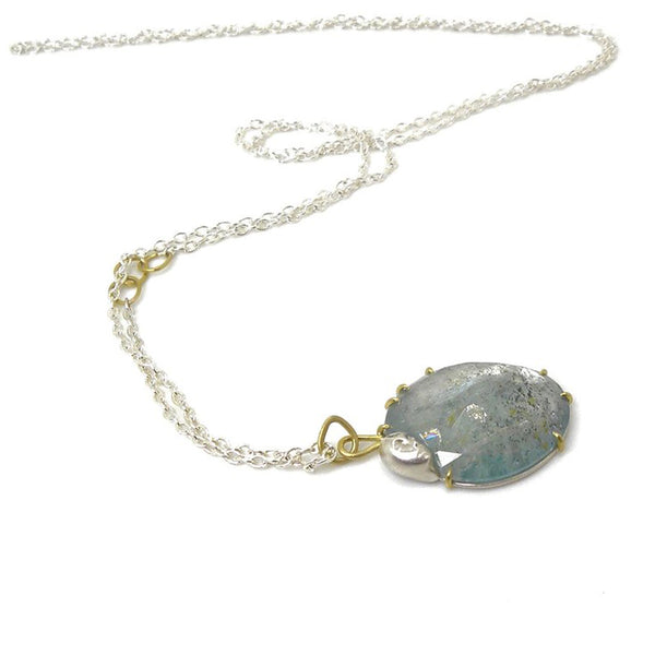 Hannah Blount - Resting Heart Aquamarine Lady Vanity Necklace