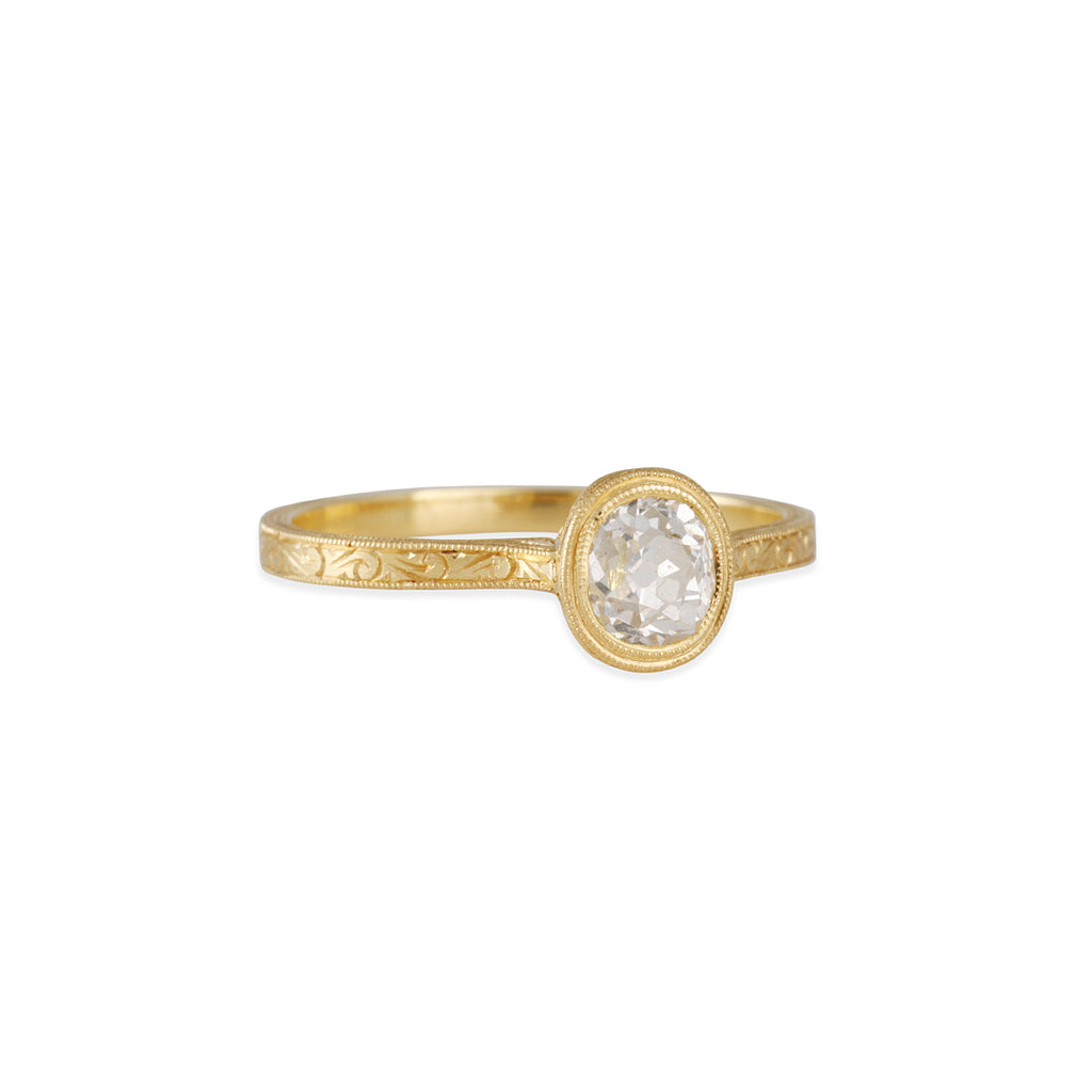 Diana Mitchell - Engraved Cathedral Ring with Old Mine Cut Diamond