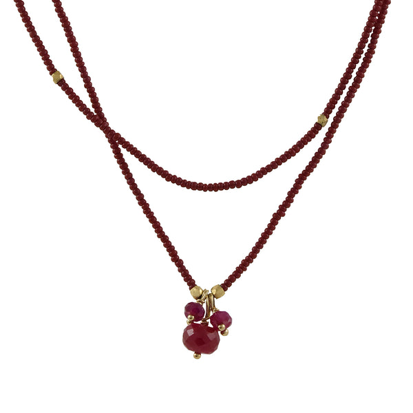 Debbie Fisher - Simple Ruby Cluster Wrap Around Necklace