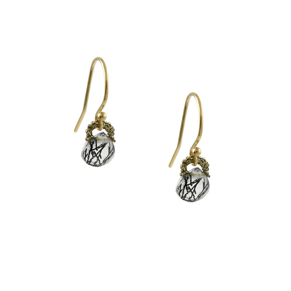 Danielle Welmond - Tiny Woven Drop Earrings With Tourmilated Quartz
