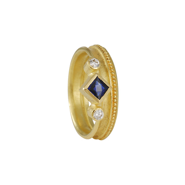 SALE - Princess Sapphire & Diamond ring