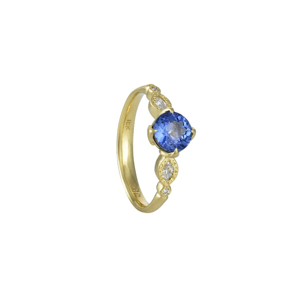 Adel Chefridi - Sapphire and Diamond Rosebud Engagement Ring