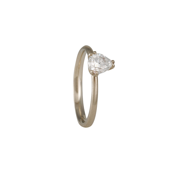 REBECCA OVERMANN - Dainty Double Prong Antique Pear Shape Solitaire