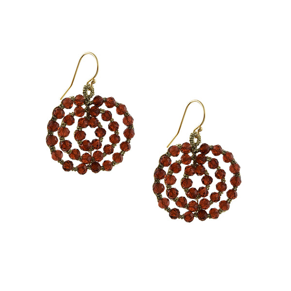 Danielle Welmond - Orbit Earrings With Faceted Garnet Beading