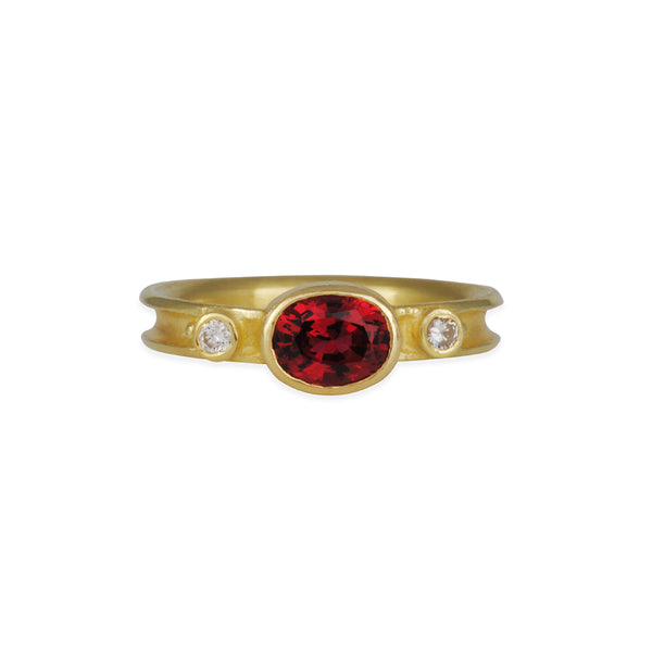 SALE - Oval Spinel & Diamond Ring