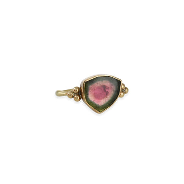 Emily Amey - Watermellon Tourmaline Ring with Granulation