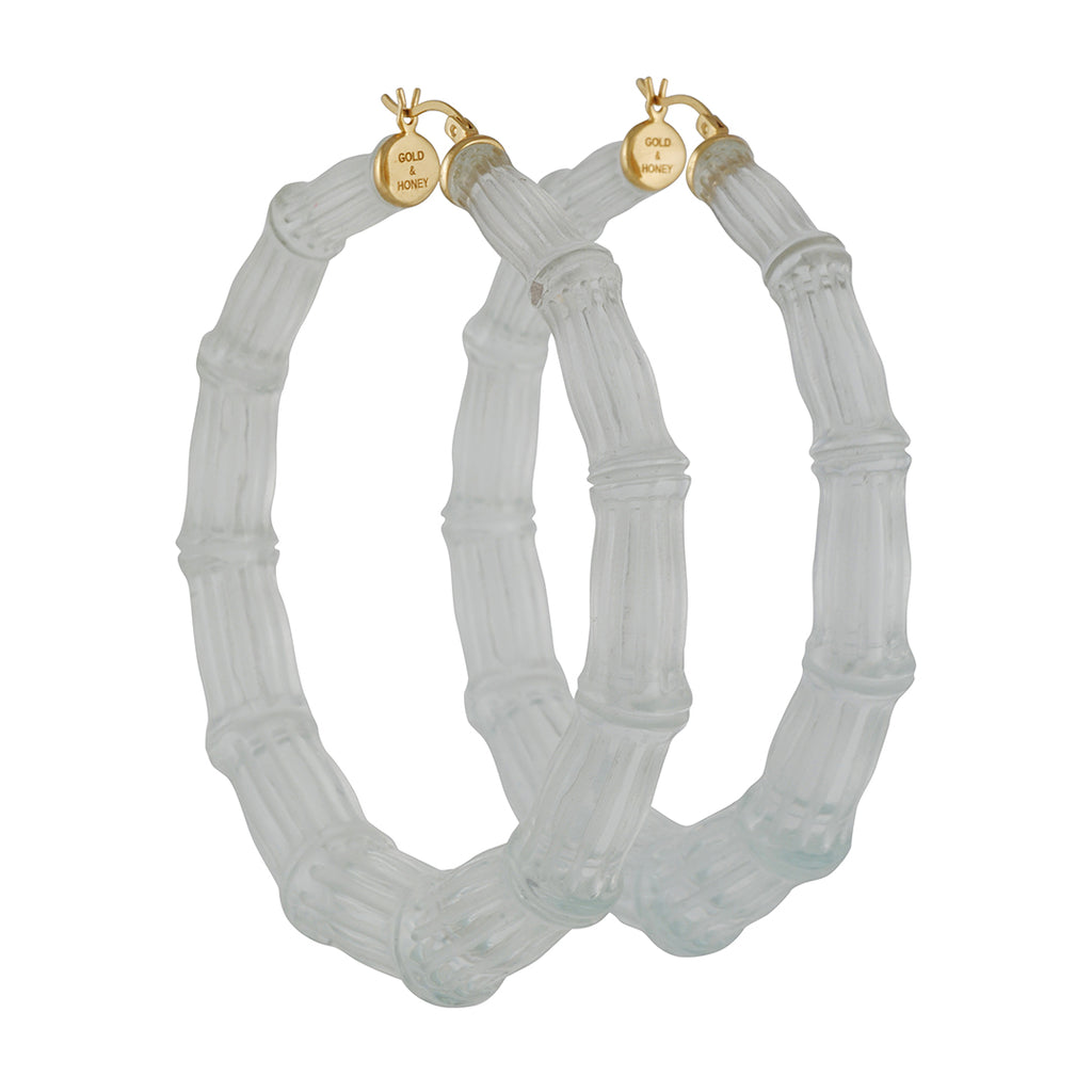Gold & Honey - X Large Frosted Matte Bamboo Hoops