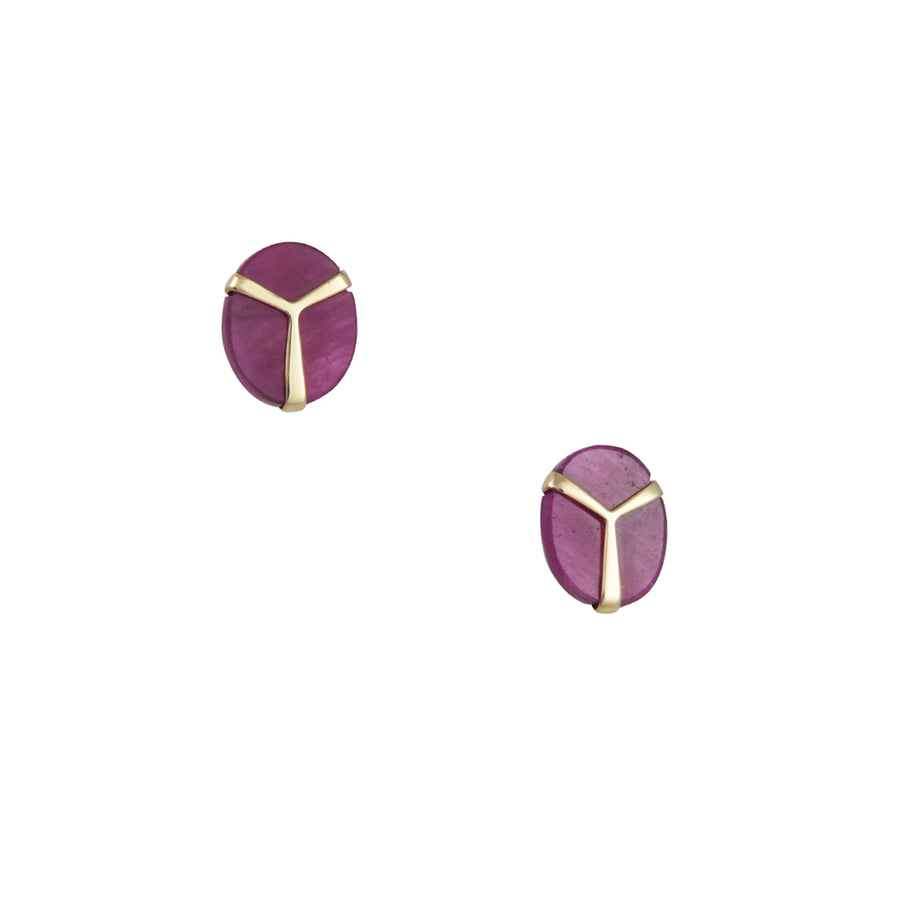 Rachel Atherley - Lucky Scarab Ruby Slice Post Earrings