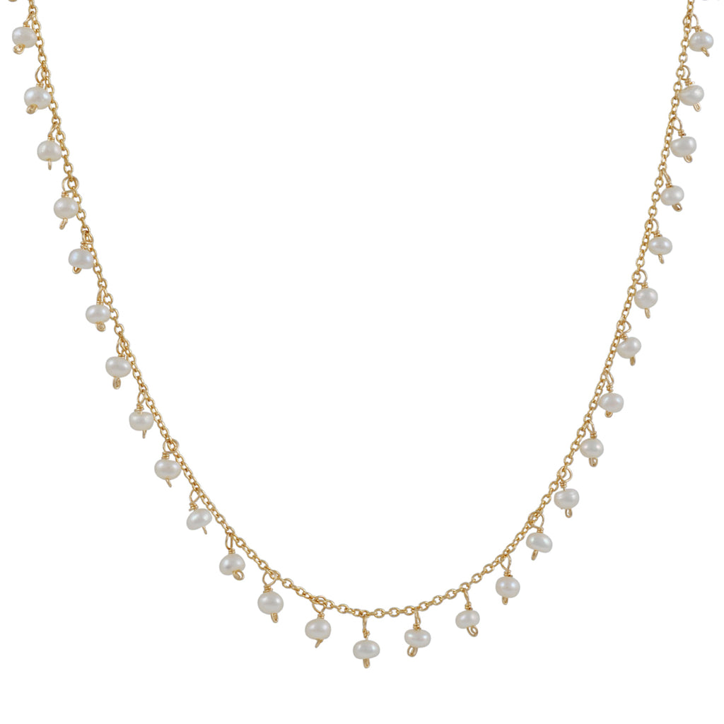 Christina Stankard - White Pearl Fringe Drop Necklace