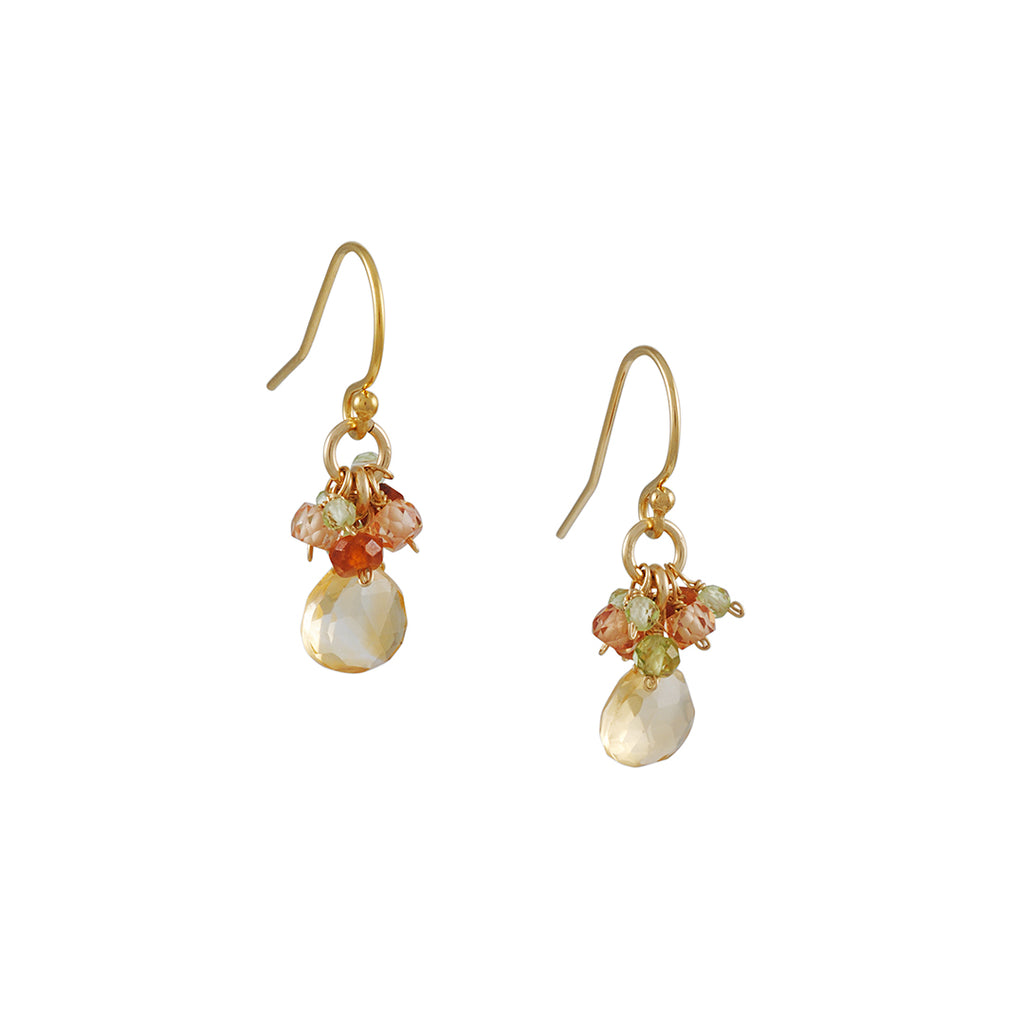 Christina Stankard - Citrine, Madeira and Peridot Cluster Earrings