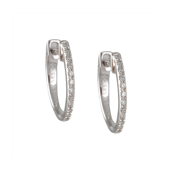 CP Collection - Diamond Huggie Hoop Earrings in White Gold