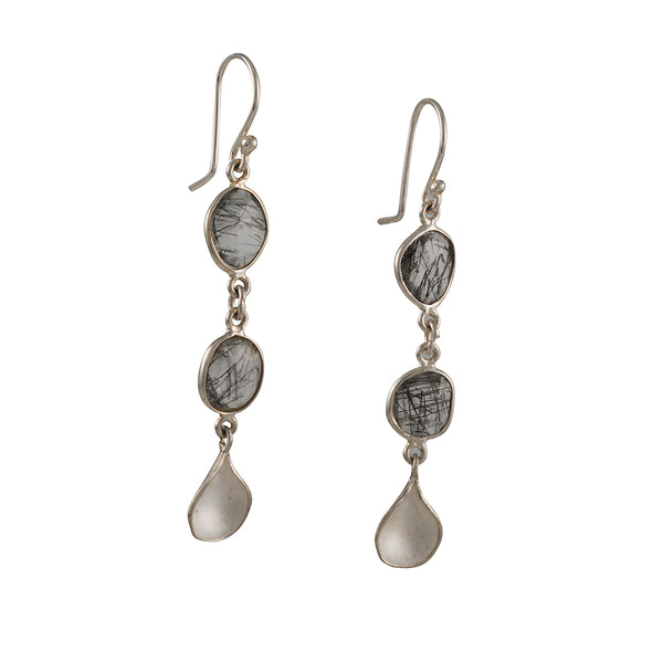 Sarah Richardson - Double Bezel Petal Drop Earrings with Tourmilated Quartz