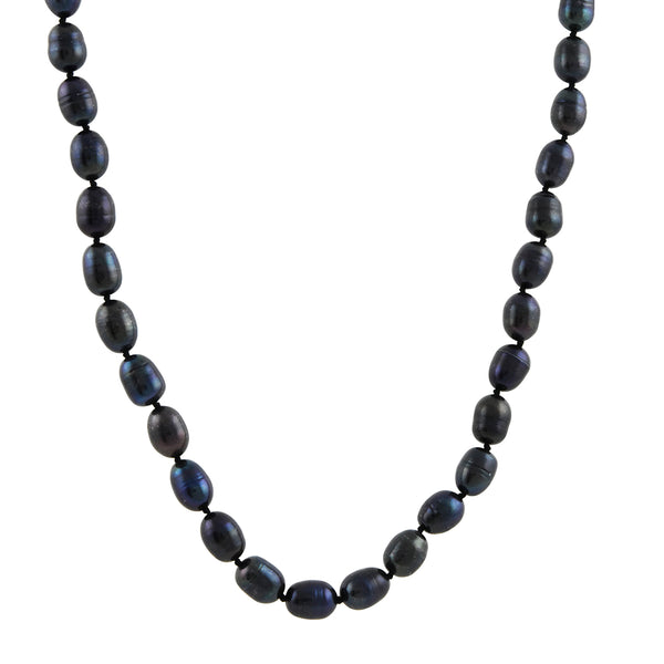 Hill House - Extra Long Peacock Blue Oval Pearls