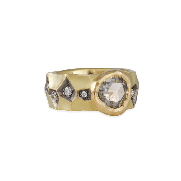Tap by Todd Pownell - Grey Diamond Crater Ring