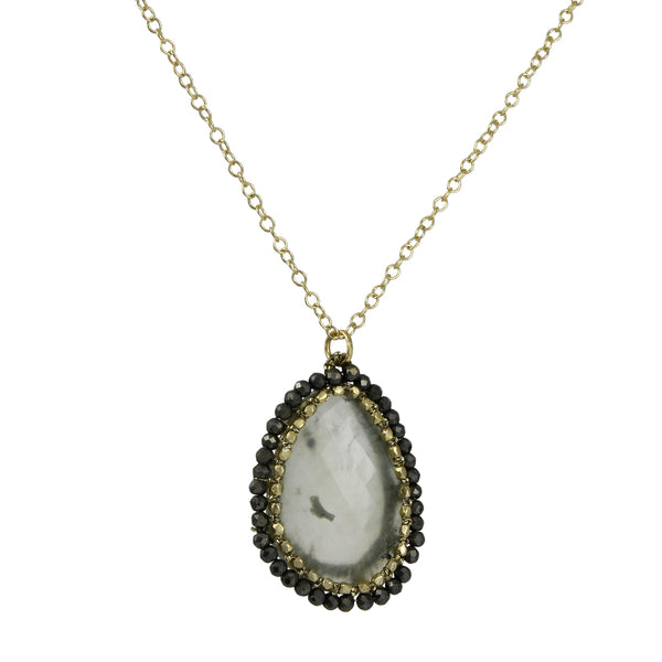 Danielle Welmond -  Hand-Crocheted Cage Pendant Necklace With Prehnite and Pyrite Halo