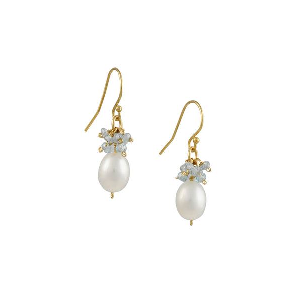 Christina Stankard - Egg Pearl Drop Earrings With Aquamarine Fringe